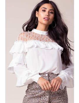 Tea Time Lace Ruffled Top by A'gaci