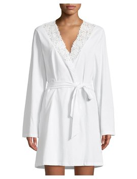Jazmine Lace Trim Jersey Robe by Cosabella