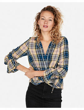Plaid Surplice Front Blouse by Express