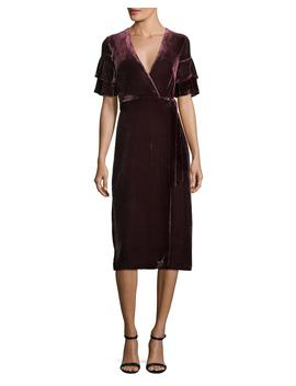 Tay Short Sleeve Velvet Wrap Dress by Neiman Marcus