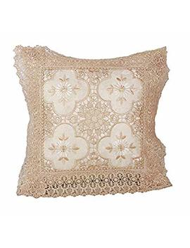 "Violet Linen Luxurious Braided Decorative Lace Cutwork Design Cushion Cover, 18"" X 18"", White by Amazon"