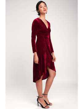 Silver Screen Burgundy Velvet Long Sleeve Midi Dress by Lulus