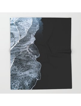 Waves On A Black Sand Beach In Iceland   Minimalist Landscape Photography Throw Blanket by