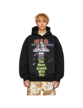 Black Oversized 'russia' Patchwork Hoodie by Vetements