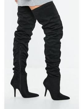 Black Slouchy Over The Knee Boots by Missguided