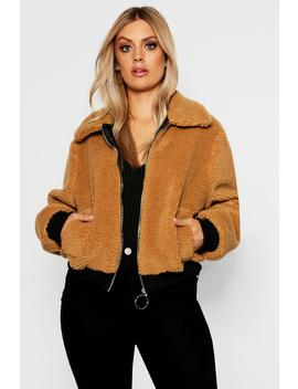 Plus Teddy Bomber Coat by Boohoo