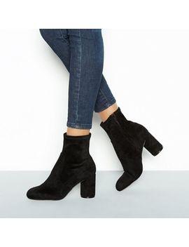 Faith   Black Suedette 'belinda' Mid Block Heel Ankle Boots by Faith