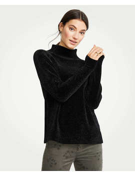 Chenille Mock Neck Sweater by Ann Taylor