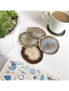 Agate Coasters Natural Colours Cream Beige Grey Agate Slices Gilded With Gold Leaf Edging. Bohemian Home Decoration. Agate Slices by Etsy