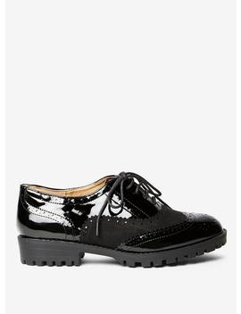 Black Patent 'Lexi' Brogue Shoes by Dorothy Perkins