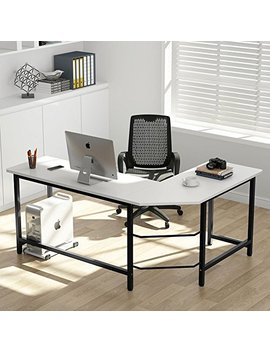 Tribesigns Modern L Shaped Desk Corner Computer Desk Pc Laptop Study Table Workstation Home Office, Wood & Metal (White + Black Leg) by Tribesigns