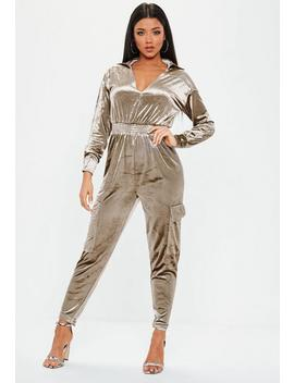Grey Velour Cargo Jumpsuit by Missguided