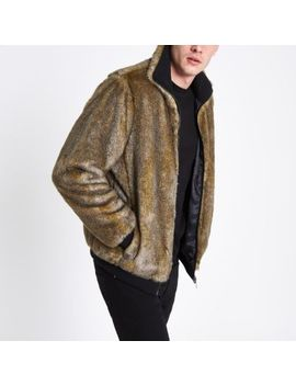 Brown Faux Fur Zip Front Jacket by River Island