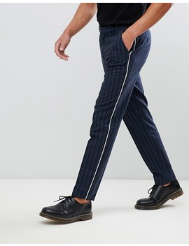 Asos Design Slim Smart Pants In Stripe With White Piping by Asos Design