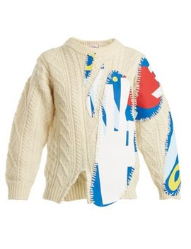 Print Appliqué Cable Knit Wool Blend Sweater by Charles Jeffrey Loverboy