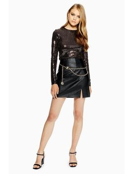 Split Front Leather Look Mini Skirt by Topshop