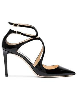 Black Lancer 85 Patent Leather Pumps by Jimmy Choo
