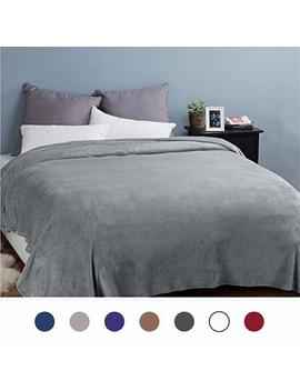 Bedsure Fleece Blankets Bedspread King Size Silver Grey   Luxury Extra Large Bed Fleece Blankets Super Soft Fluffy Warm Microfiber Solid Blanket 230x270cm by Bedsure