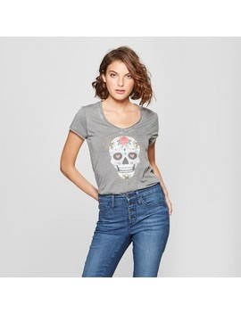 Women's Short Sleeve Colorful Skull Graphic T Shirt   Grayson Threads (Juniors') Heather Gray by Grayson Threads