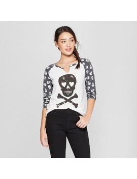 Women's 3/4 Sleeve Skull Raglan Graphic T Shirt   Grayson Threads (Juniors') White by Grayson Threads