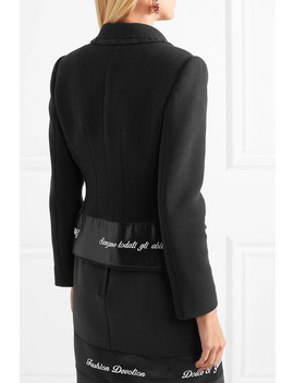 Embroidered Satin Trimmed Wool Blend Crepe Jacket by Dolce & Gabbana