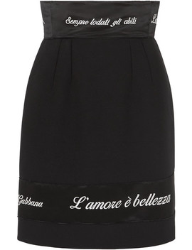 Embroidered Satin Trimmed Cady Pencil Skirt by Dolce & Gabbana