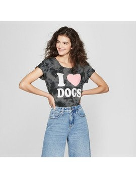 Women's Short Sleeve I Heart Dogs Graphic T Shirt   Fifth Sun (Juniors') Charcoal by Fifth Sun