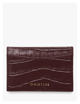 Whistles Shiny Croc Card Holder, Plum by Whistles