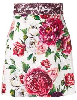Rose Print Brocade Mini Skirt by Dolce & Gabbana