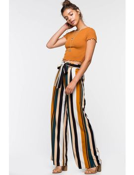 Multi Stripe Tie Front Wide Leg Pant by A'gaci