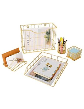 Superbpag Office 5 In 1 Desk Organizer Set Gold  Letter Sorter, Pencil Holder, Stick Note Holder, Hanging File Organizer And Letter Tray by Superbpag