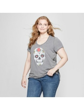 Women's Plus Size Short Sleeve Colorful Skull Graphic T Shirt   Grayson Threads (Juniors') Heather Gray by Grayson Threads