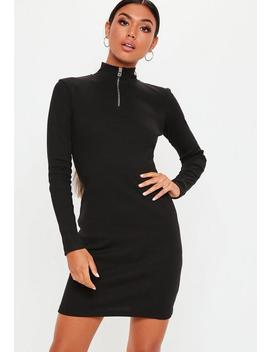 Tall Black Zip Front High Neck Ribbed Bodycon Dress by Missguided