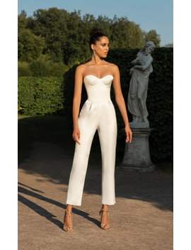 Strapless Satin Cropped Jumpsuit by Rasario