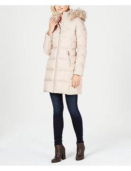 Petite Faux Fur Trim Puffer Coat by Calvin Klein