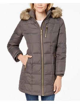 Petite Faux Fur Trim Puffer Coat by Michael Michael Kors