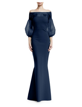 Moyer Illusion Balloon Sleeve Gown by Neiman Marcus