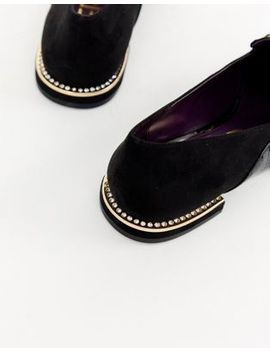 River Island Loafers With Gold Buckle In Black by River Island