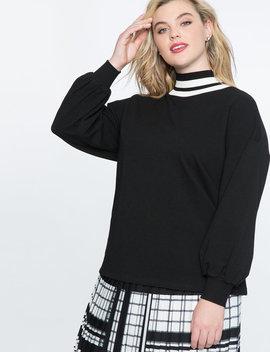 Puff Sleeve Sweatshirt With Stripe Trim by Eloquii
