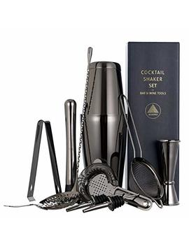 11 Piece Black Cocktail Shaker Bar Set: 2 Weighted Boston Shakers, Cocktail Strainer Set, Double Jigger, Cocktail Muddler And Spoon, Ice Tong And 2 Liquor Pourers by Aloono