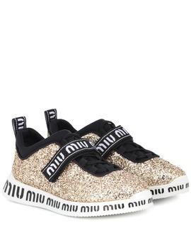 Logo Glitter Sneakers by Miu Miu