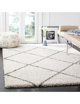 Safavieh Hudson Shag Collection Sgh281 A Ivory And Grey Moroccan Diamond Trellis Area Rug (4' X 6') by Safavieh