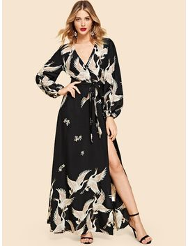 V Neck Crane Print Dress by Shein