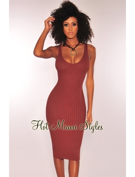 Chocolate Ribbed Knit Sleeveless Dress by Hot Miami Style