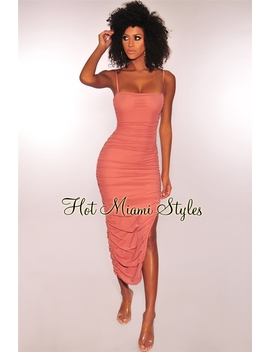 Dusty Rose Ruched Slit Midi Dress by Hot Miami Style