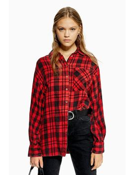 Check Oversized Shirt by Topshop