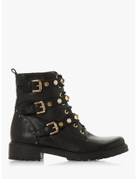 Dune Reegan Buckle Detail Ankle Boots, Black Leather by Dune