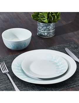 April Floral Collection Taupe 12 Piece Porcelain Dinnerware Set, Walmart Exclusive by Placemate