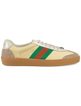 G74 Leather Sneaker With Web by Gucci