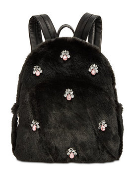 Bejeweled Faux Fur Backpack by Betsey Johnson